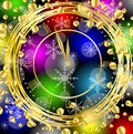 Clock on a bright christmas background with gold spangles vector illustration Royalty Free Stock Photos