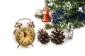 Clock,bumps , decorated Christmas tree Stock Photo