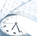 Clock and calendars face on white copy space Stock Images