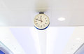 Clock on ceiling at airport Royalty Free Stock Photo