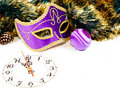 Clock, christmas balls and Venetian mask Royalty Free Stock Photo