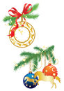 Clock and christmas decorations on fir branches Stock Photos