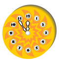 Clock with a clockface in the form of the sun funny Stock Image