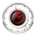 Clock and coffee cup illustration on white Stock Image