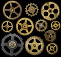 Clock cogs isolated on black collection of old a background Royalty Free Stock Photography
