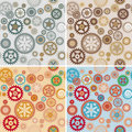 Clock cogwheel pattern set Stock Photography