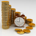 Clock and coins Royalty Free Stock Images