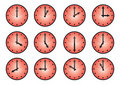 Clock different icons Royalty Free Stock Photography