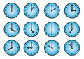 Clock different icons Royalty Free Stock Images