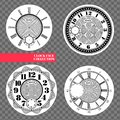 Clock face blank set isolated on transparent background. Vector watch design. Vintage roman numeral clock illustration. Black Royalty Free Stock Photo