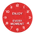 Clock face -enjoy every moment, rusty texture, Vector illustration