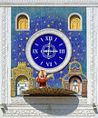 Clock with figure of donkey carrying icon in yoshkar ola russia on the building national art gallery the bogorodica trojeruchica Royalty Free Stock Photos