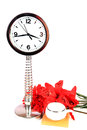 Clock and flowers Royalty Free Stock Photo