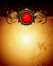 Clock frame with floral Royalty Free Stock Photo