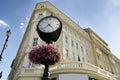 A clock in front of a hotel in bratislava