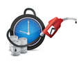 Clock with a gas pump nozzle illustration design over white background Royalty Free Stock Photos
