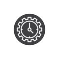 Clock and gear icon vector Royalty Free Stock Photo