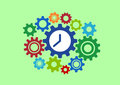 Clock in gears abstract concept colorful Royalty Free Stock Photo