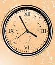 Clock with grunge background Stock Photo