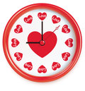 Clock with hearts vector on white Stock Image