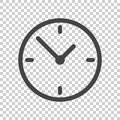 Clock icon, flat design. Vector illustration on isolated backgro Royalty Free Stock Photo
