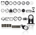 Clock icon set Stock Photo