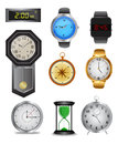 Clock icon set detailed illustration of clocks and watches isolated on white Royalty Free Stock Photography