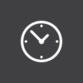 Clock icon vector isolated on black.