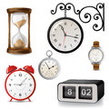 Clock icons different types of clocks over white background Royalty Free Stock Photo