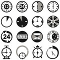 Clock image icons with and alarm clocks of the different designs on a white background Royalty Free Stock Photography