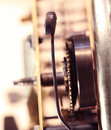 Clock mechanism close up of a internal Stock Photography