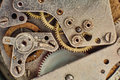Clock Mechanism with Gears.Mechanical Gear Macro Background. Royalty Free Stock Photo