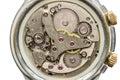 Clock mechanism macro shot, top view Royalty Free Stock Photo