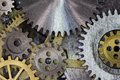 Clock mechism gears and cogs macro Stock Photos