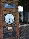 Clock near prime meridian column with royal observatory in greenwich england Stock Photography