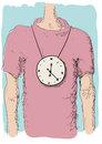 Clock in the neck illustration of person with a around his Royalty Free Stock Photography