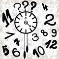 Clock and numbers on a white background grunge effect vector illustration Royalty Free Stock Photo