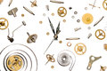 Clock parts of mechanism on pure white background Stock Image