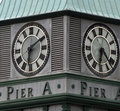 Clock on Pier A Tower, Battery Park, New York City Royalty Free Stock Photos