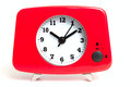 Clock a red with chrome feet Stock Images