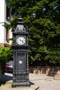 Clock roadside antique cast iron street in baden baden Stock Photo