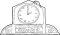 Clock with roman numerals and mouse outline drawing of mantle Stock Photography
