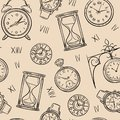 Clock seamless pattern. Sketch time, sketch hourglass and mechanic watch, timepiece vector vintage texture Royalty Free Stock Photo