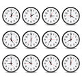 Clock that show every hour vector