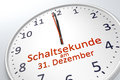 A clock showing leap second at december 31 in german language