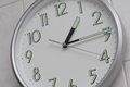 Clock showing one-fifteen time Royalty Free Stock Photo