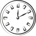 Clock sketch black on white background Royalty Free Stock Photography