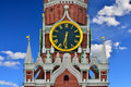 Spasskaya Tower of the Moscow Kremlin closeup. Moscow, Russia Royalty Free Stock Photo