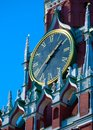 Clock on Spasskaya tower, Moscow, Russia Stock Photo