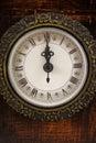 Clock strikes twelve o'clock Royalty Free Stock Photo